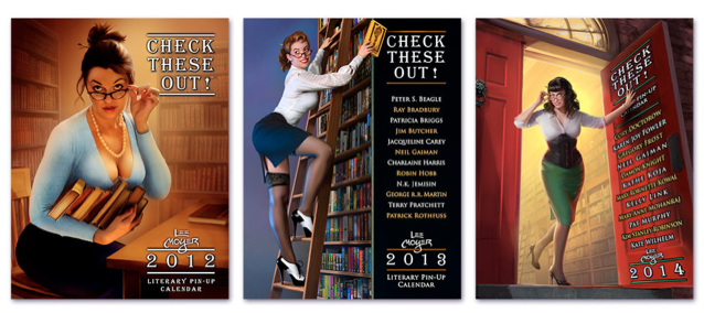 All three Literary Pin-up Calendars by Lee Moyer